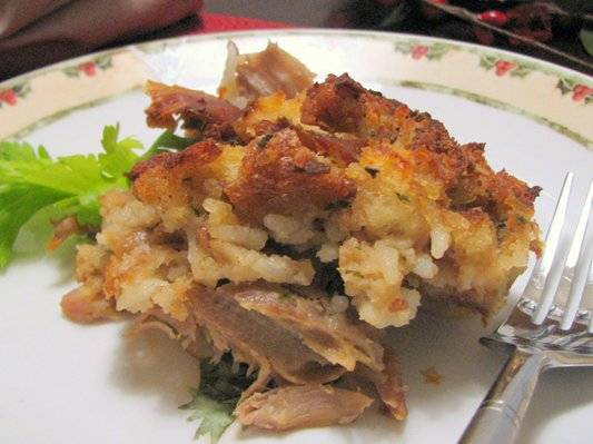 Turkey and Dressing Casserole - A great way to use up leftover turkey and dressing