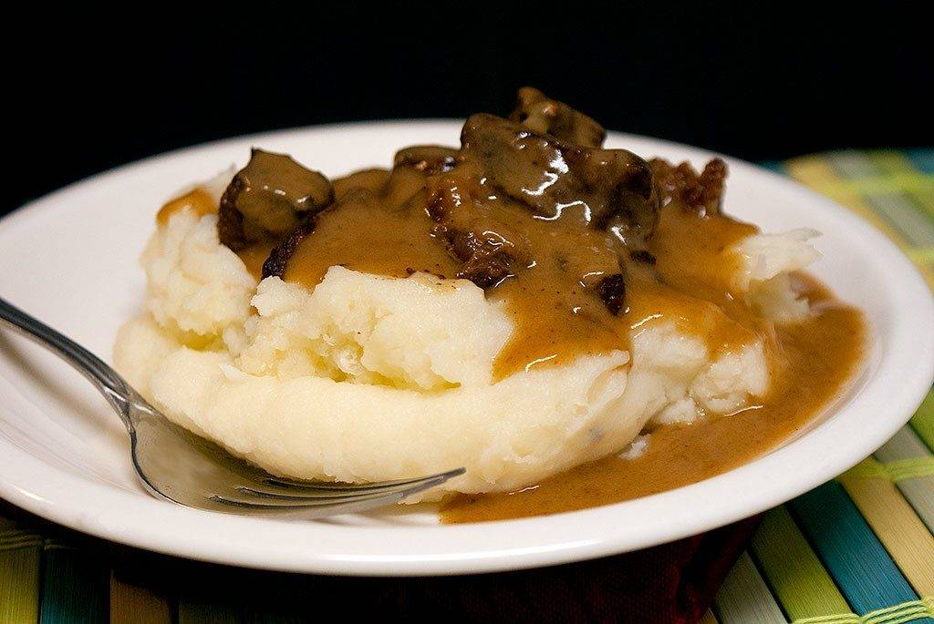 Beef tips smothered in rich, hearty brown gravy. comfort food at its very best.