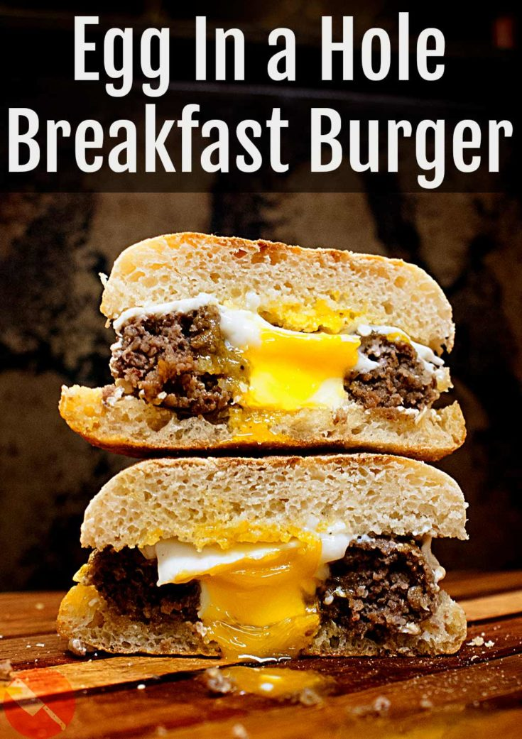 Egg in a Hole Breakfast Burgers. Sausage, toast and egg all in the same bite.