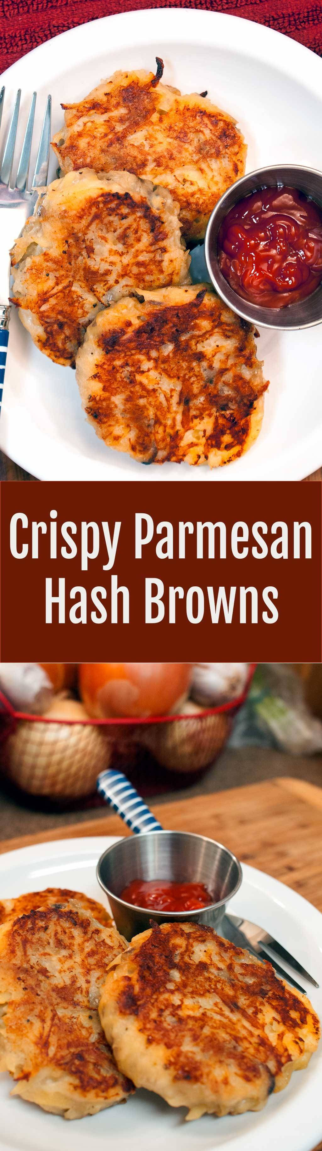 Crispy Restaurant Style Parmesan hash Browns. - Crispy on the outside and fluffy on the inside. (Sort of like latkes, but different.)