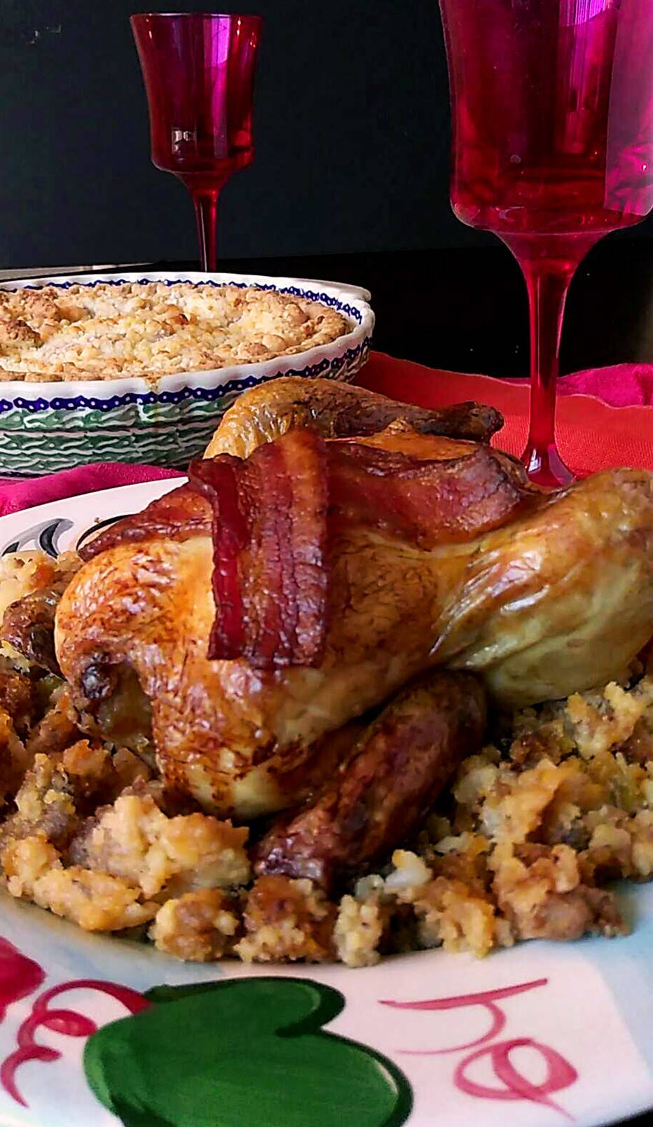 Cornish hens draped in succulent bacon. Served with traditional cornbread &sausage dressing. What could be better?