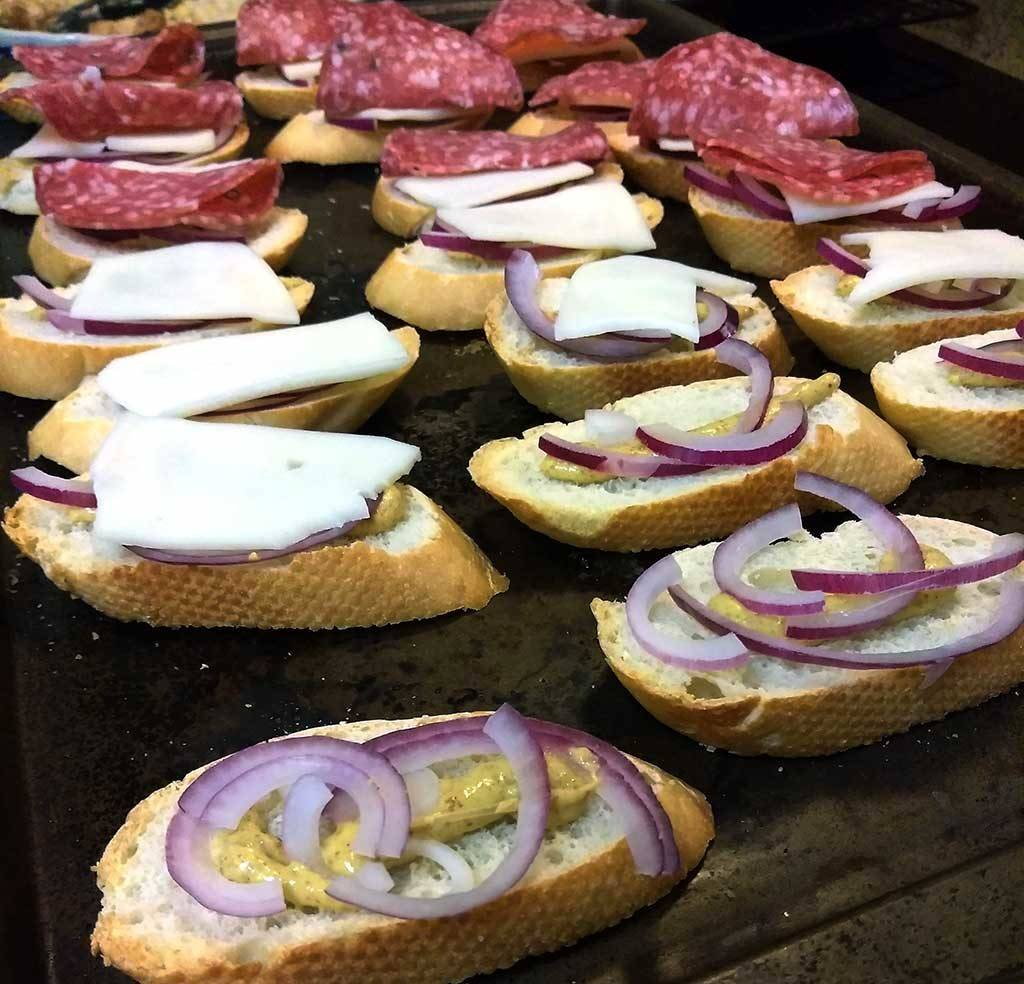 Salami, cheese & onion appetizers