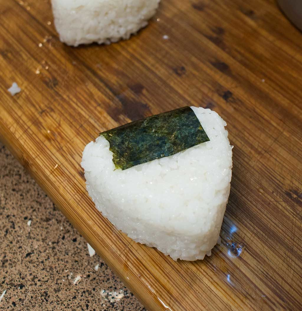 Onigiri all dressed up and ready to eat!