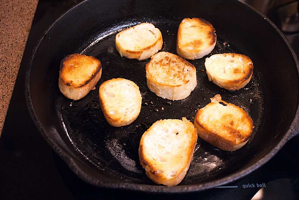 Toast baguette rounds in a little butter to make croutons or soppettes to pour our lovely sauce over.
