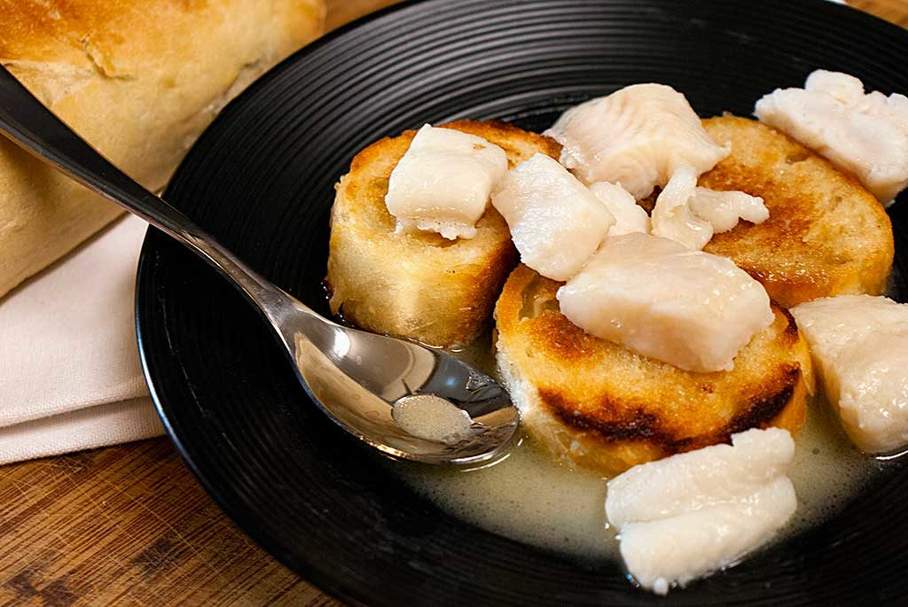 """Poached Whitefish in Butter & White Wine Sauce (A.K.A. """"Boiled Trout"""")"""