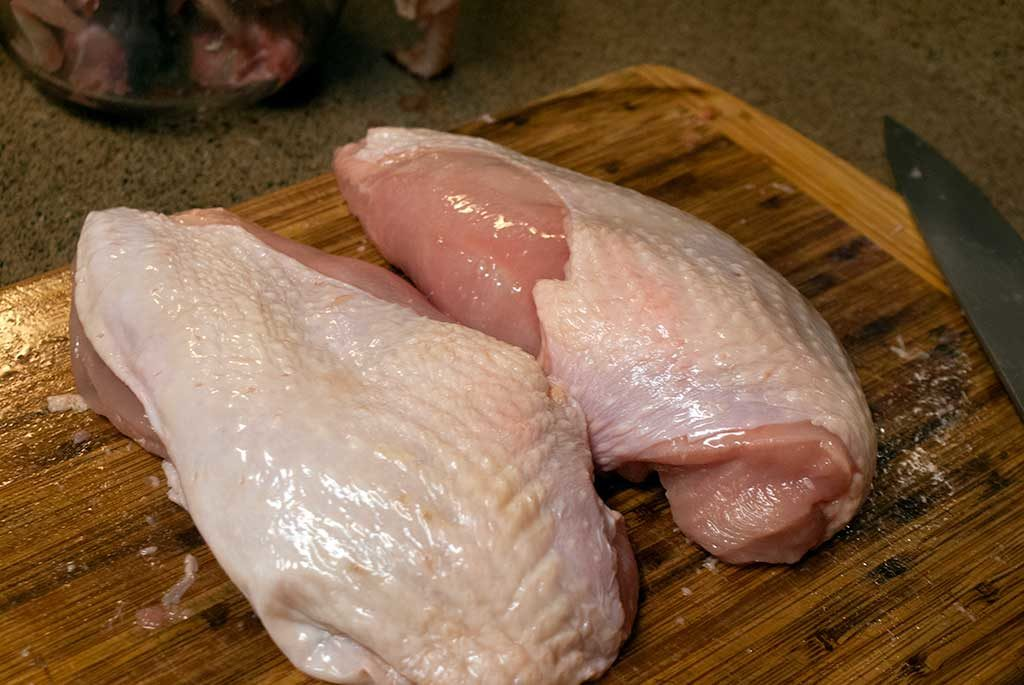 two turkey breast halves - How to butcher a turkey series