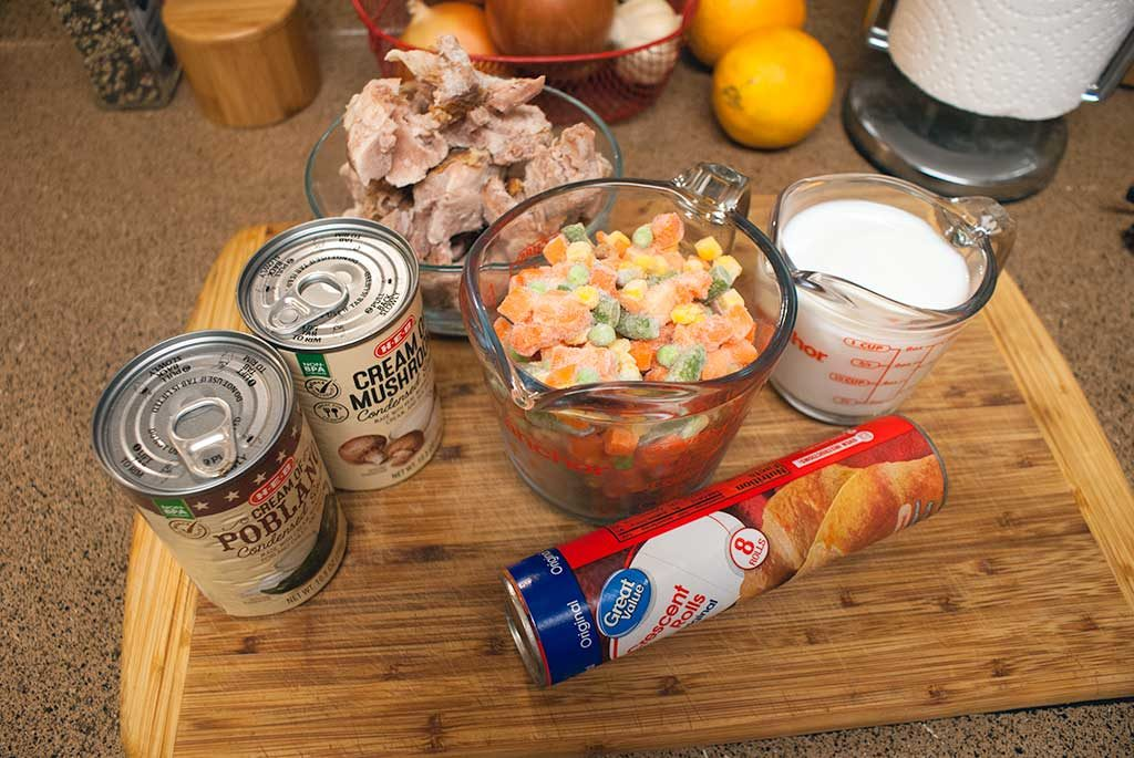 Ingredients for leftover turkey pot pie