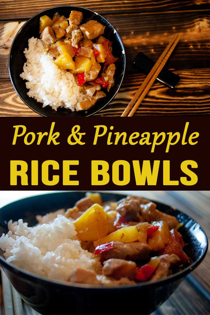 Pork and Pineapple Rice Bowls. A quick and easy meal for any day of the week. Savory, sweet, with tons of flavor. You can't go wrong with this dish!  #pork #pineapple #Asian #hawaiian