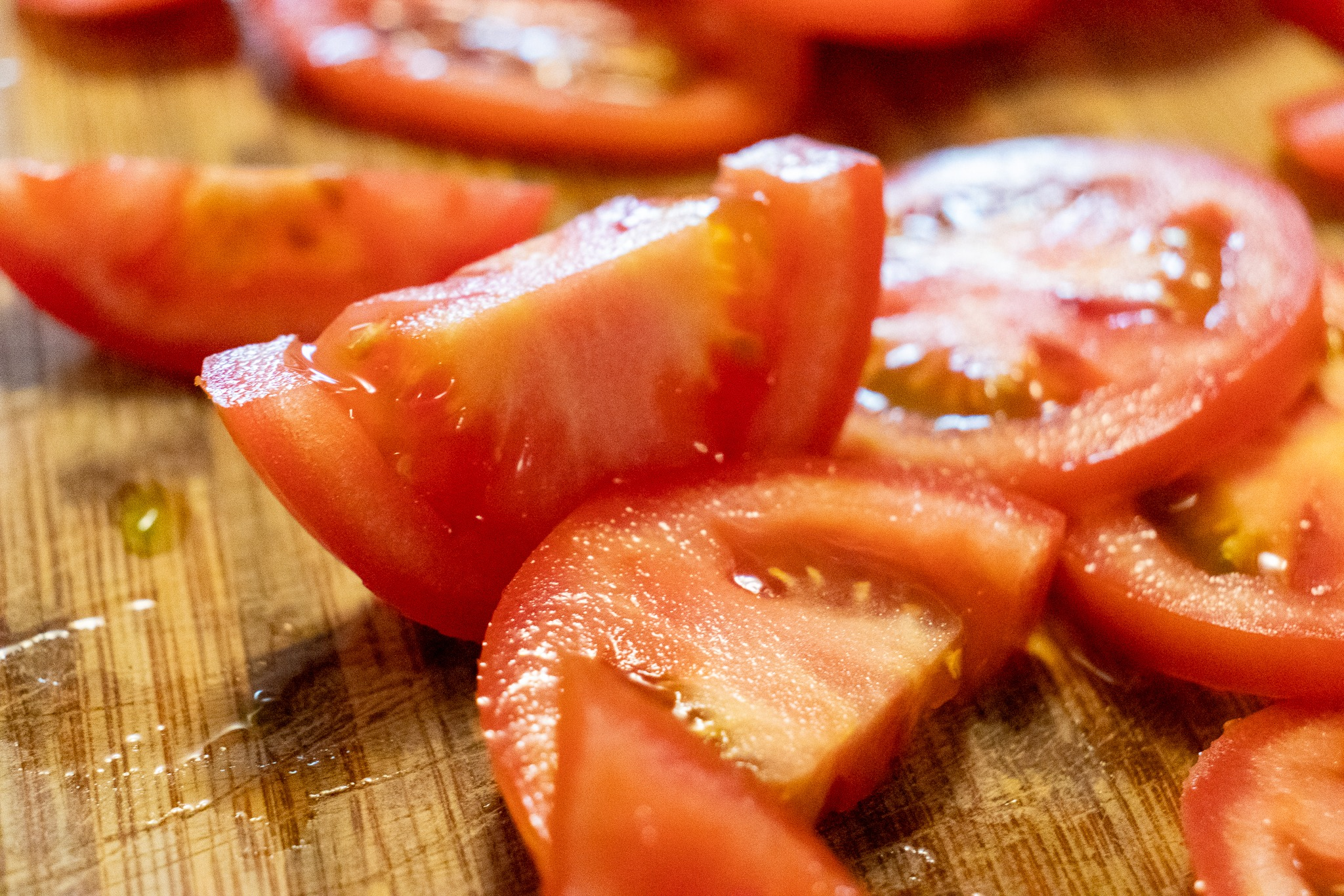 Tomatoes cut into bite-sized pieces