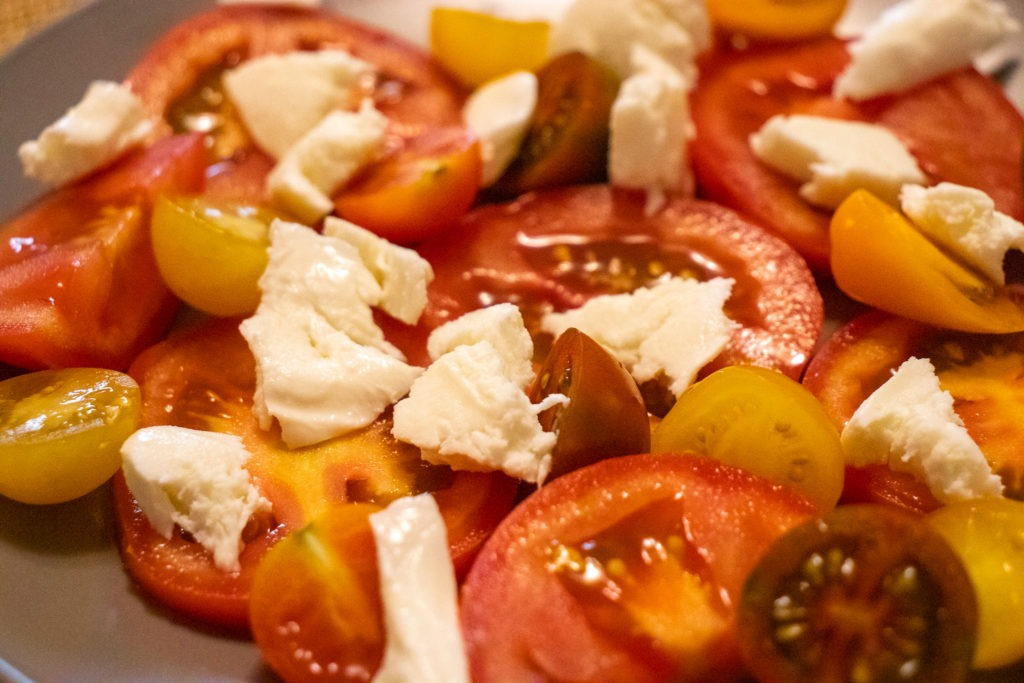 Tomatoes and Mozzarella cheese on a plate
