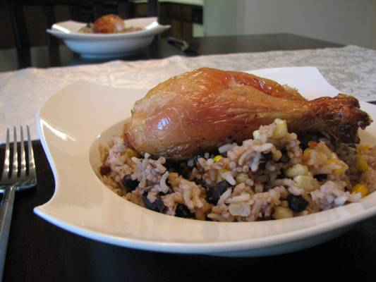 Basil and Oregano Roast Chicken with Southwestern Rice Recipe