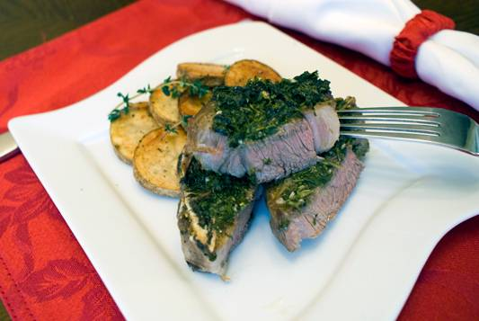 Herb Crusted Lamb Chops with Potato Medallions