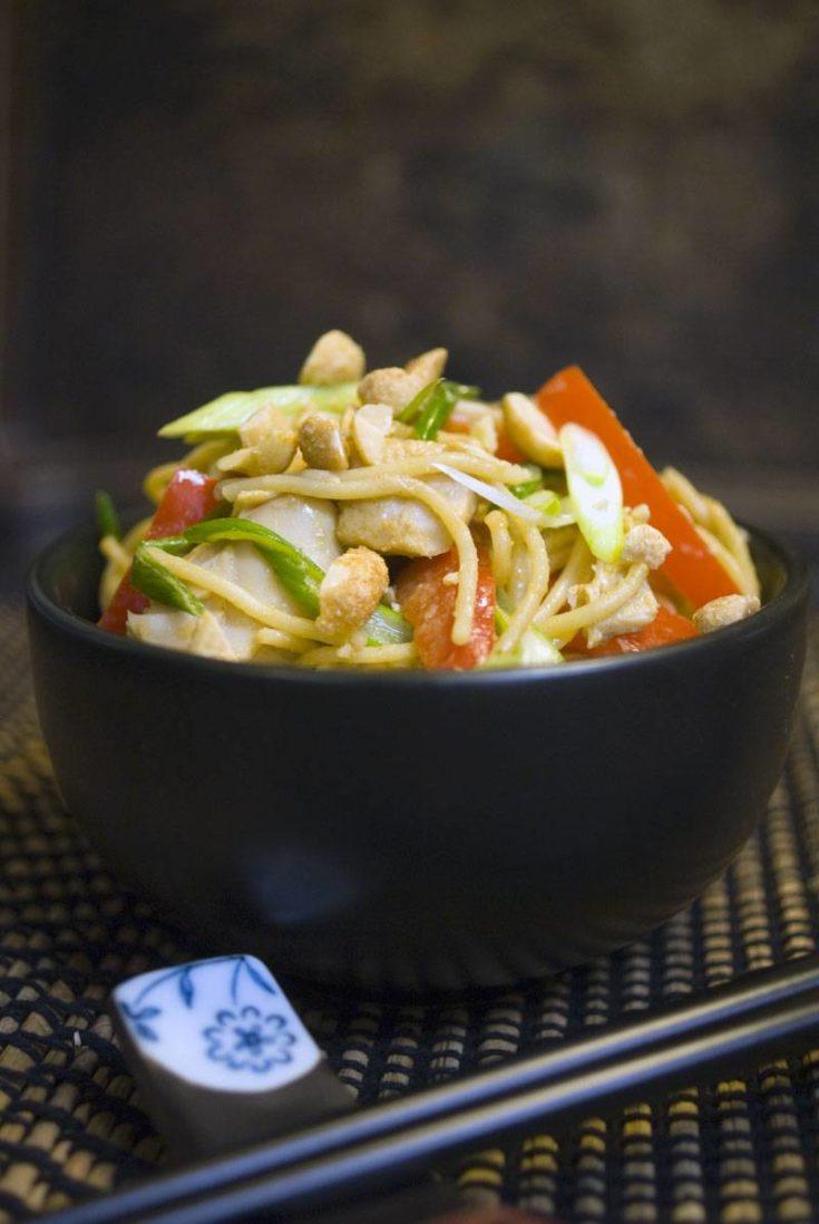 Thai Peanut Turkey and Noodles - A Leftover Turkey Recipe Revolution
