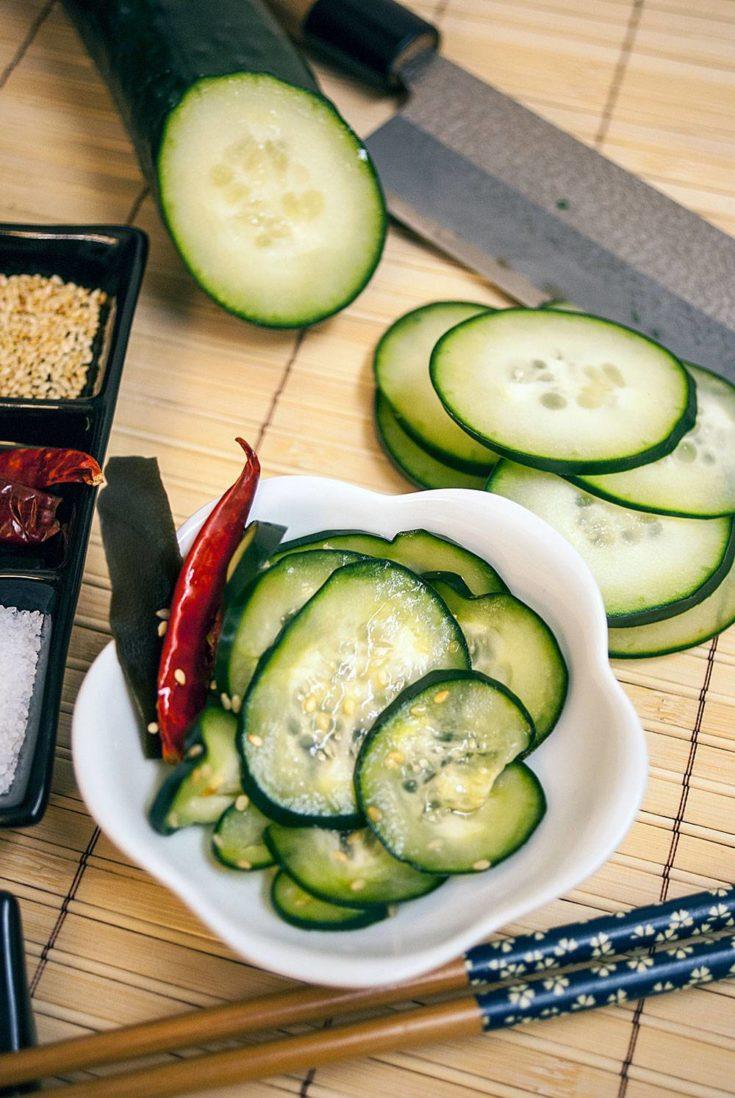 Tsukemono - Japanese Quick Pickled Cucumbers (Shiozuke Tsukemono)