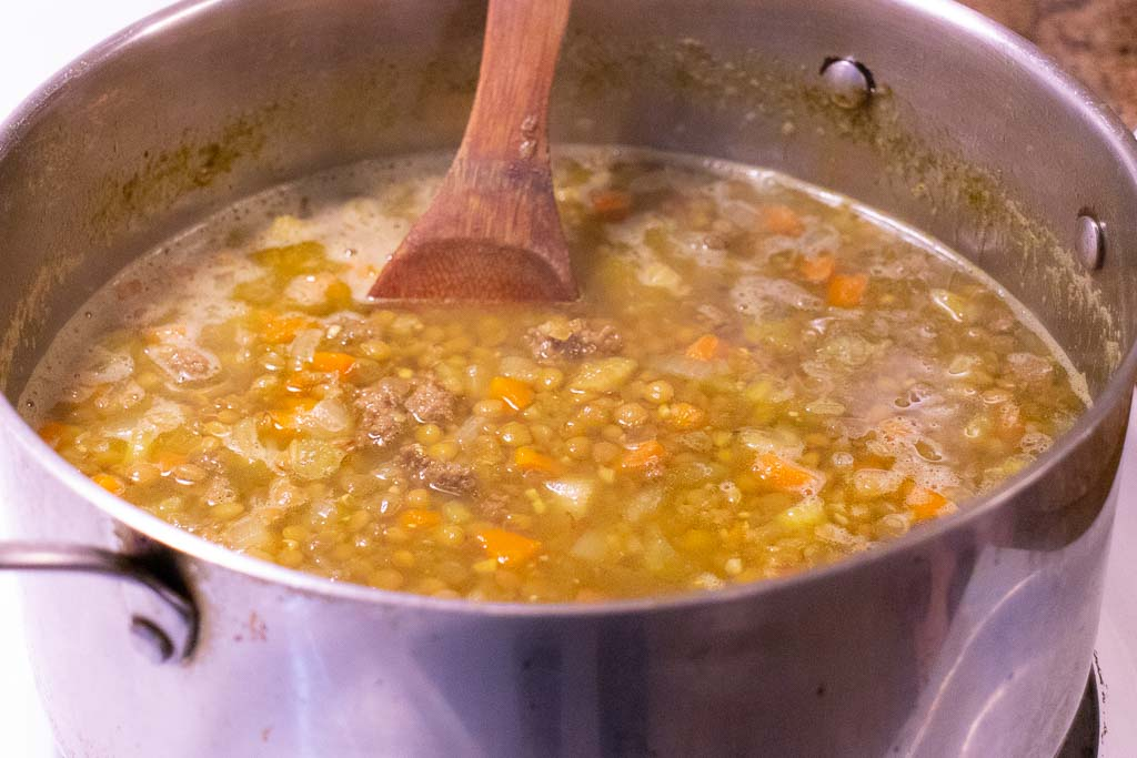 Cooked lentil soup in a pot
