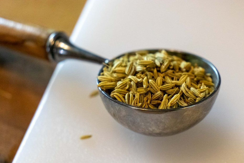 Fennel seeds in a measuring spoon