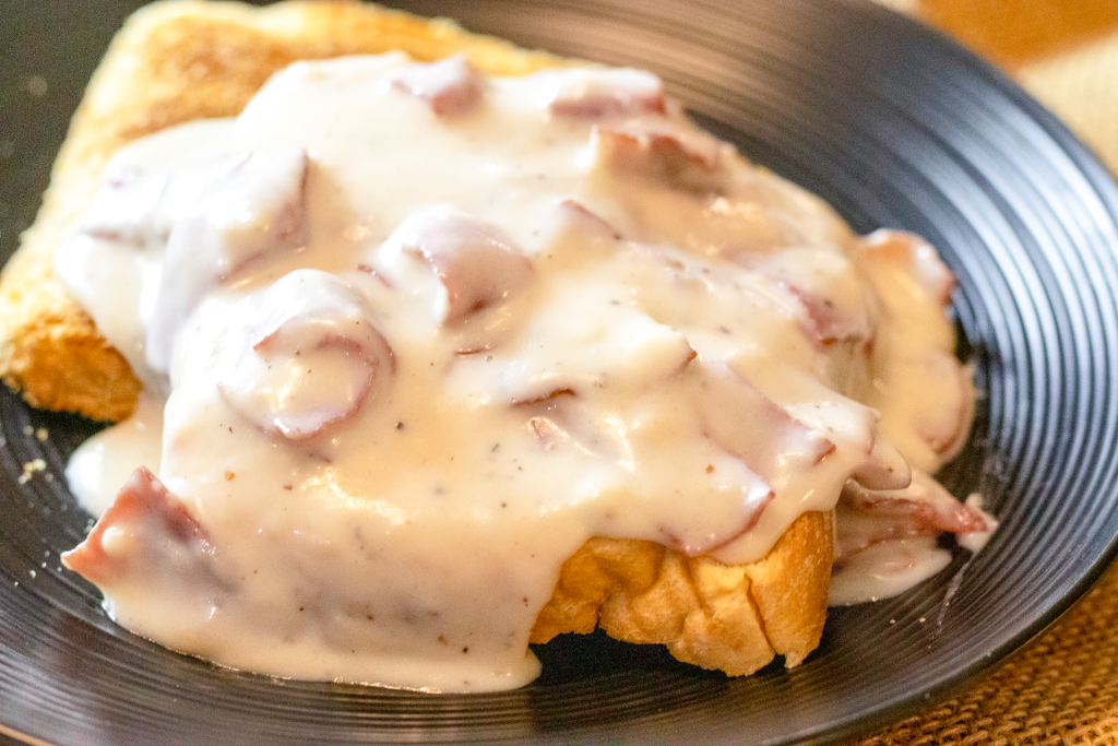 """Creamed Chipped Beef on Toast. Also known as """"Shit on a Shingle"""", """"Same Old Stuff"""", Stew on a Shingle"""", or just S.O.S."""