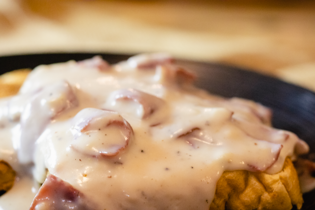 Creamed Chipped beef on toast. (Also known as Shit on a Shingle, S.O.S., Same old Stuff, Stew on a Shingle, SOS, Same old Shit.)